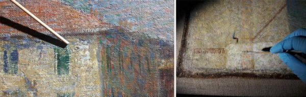 A sinistra, dettaglio delle esfoliazioni superficiali, in corrispondenza del palazzo sulla sinistra. A destra, dettaglio durante la pulitura.