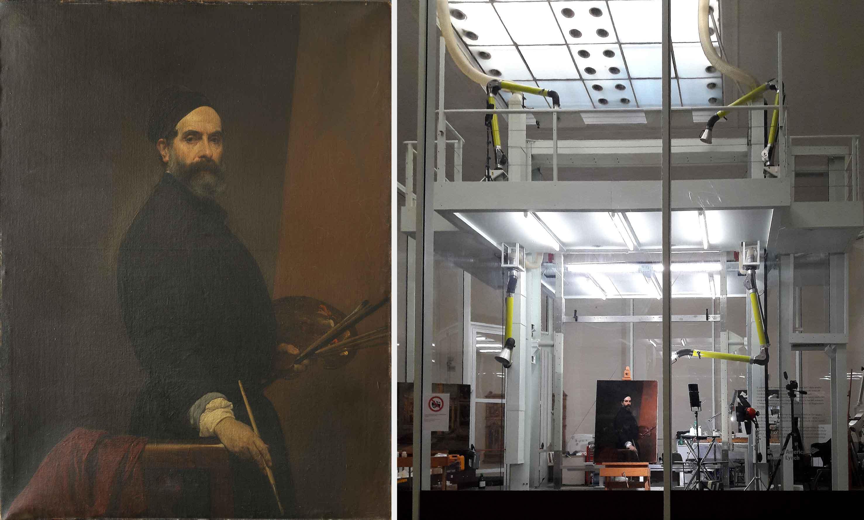 A sinistra, Francesco Hayez, Autoritratto, prima del restauro (fig. 1); a destra, l'opera collocata nel laboratorio di restauro della Pinacoteca di Brera  (fig. 2).