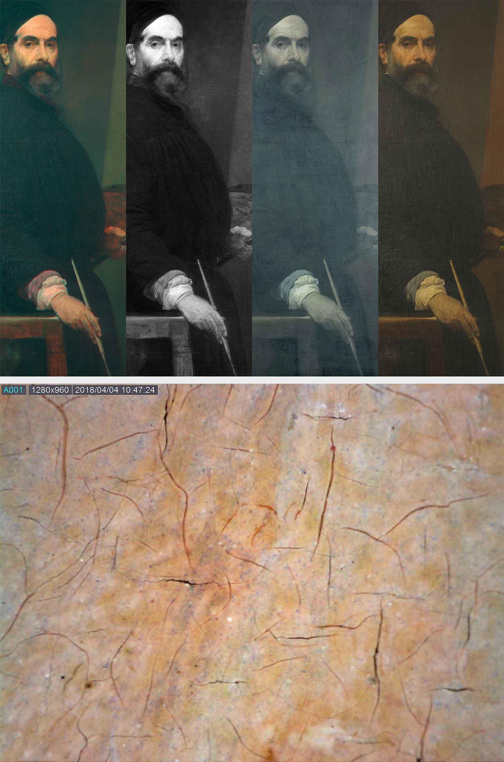 In alto, particolare in infrarosso falso colore, riflettografia, fluorescenza ultravioletta e luce visibile (fig. 3); sopra, immagine al microscopio dell'incarnato sulla fronte (60x) (fig. 4).