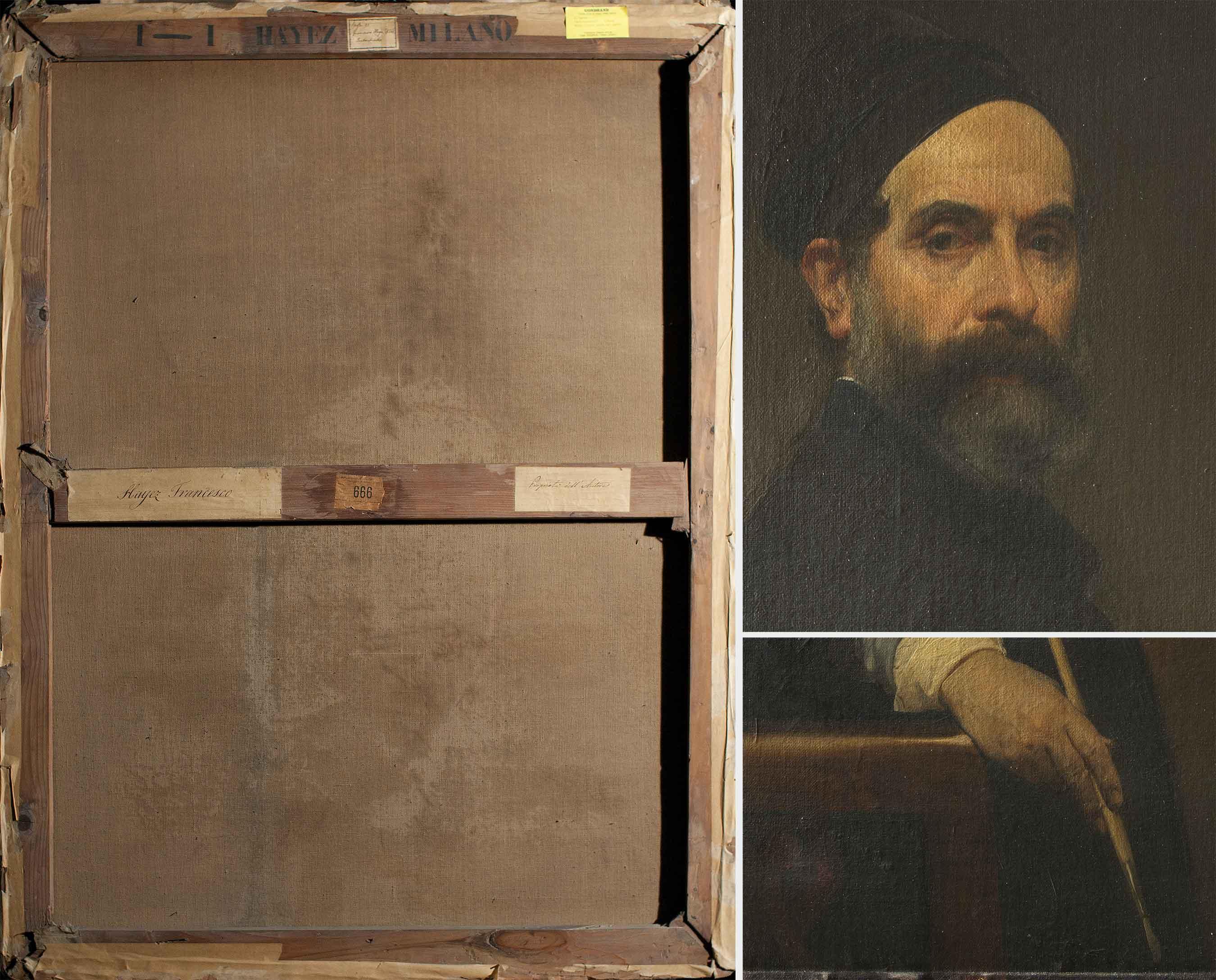 A sinistra, verso del dipinto (fig. 5); a destra dall'alto, particolare del volto, si evidenzia la stesura pittorica (fig. 6); particolare del margine inferiore del dipinto (fig. 7).