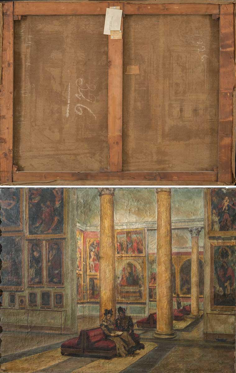 In alto, il retro del dipinto (fig.2). In basso, fotografia in luce radente prima dell'ultimo restauro: si osserva la deformazione del tessuto e la crettatura degli starti pittorici (fig.3)