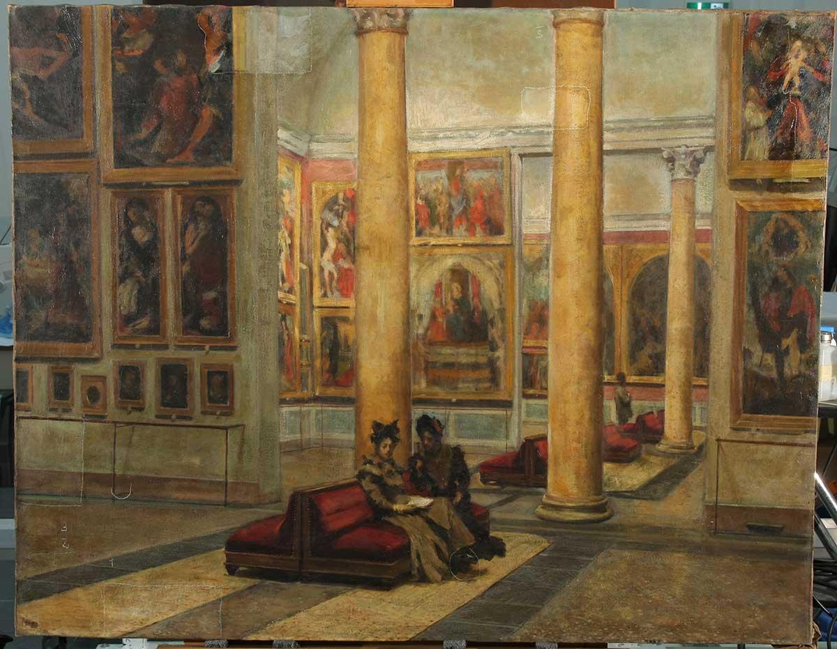 Fotografia durante la pulitura; si notano i tasselli con le prove di rimozione delle vernici alterate (fig.6)