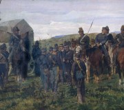 Episode from the Battle of Custoza. The Wounded Prince Amedeo Is Escorted to an Ambulance