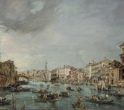 View of the Grand Canal towards Rialto with Palazzo Grimani and Palazzo Manin