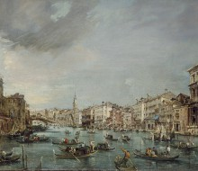 View of the Grand Canal Looking toward Rialto with Palazzo Grimani and Palazzo Marin