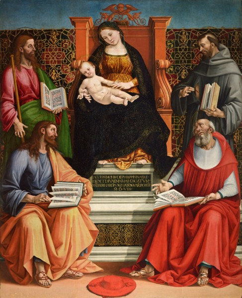 Madonna and Child Enthroned with Saint James the Greater, Saint Simon, Saint Francis of Assisi and Saint Bonaventura (Arcevia Altarpiece)