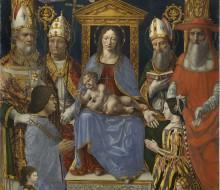 """Madonna in trono con il Bambino, Dottori della Chiesa e la famiglia di Ludovico il Moro (""""Pala Sforzesca"""")"""