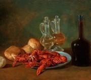 Natura morta con piatto di peltro, gamberi, limone, ampolle di vetro, pane e bottiglia di vino