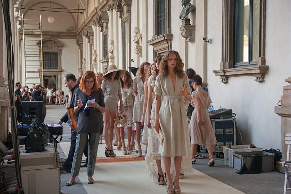 A Luisa Beccaria fashion show in the upper portico of the Pinacoteca di Brera.