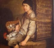 Portarolo seduto con cesta a tracolla uova e pollame