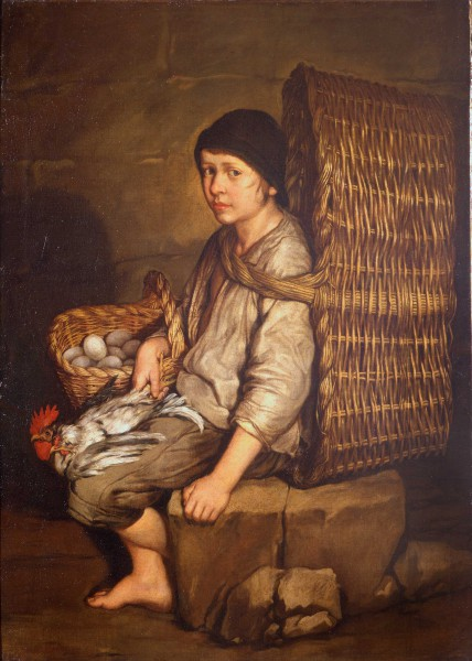 Errand Boy Seated with a Basket on His Back, Eggs and Poultry