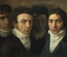 Self-portrait with Felice Bellotti, Gaetano Cattaneo and Carlo Porta