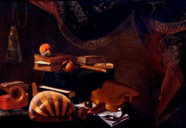 Still Life with Musical Instruments (Bombard, Mandola, Violin, Flute, Sheet of Tableture, Casket, Books, Aples, with Curtain)