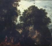 Paesaggio boscoso con Abramo e Isacco