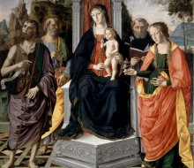 Madonna and Child Enthroned with Saints John the Baptist, Peter, Dominic and Mary Magdalene