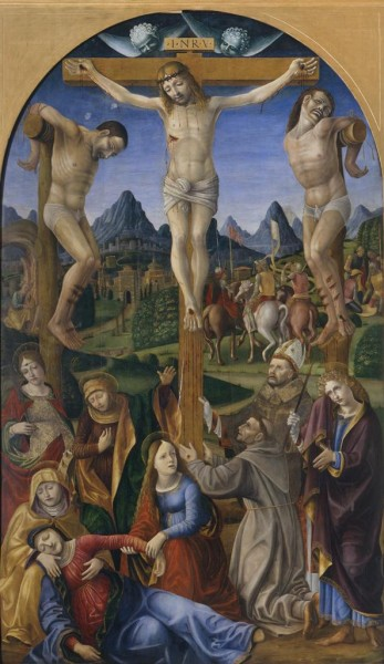 Crucifixion with Saints Catherine, Francis, Bonaventure (?) and John (?)