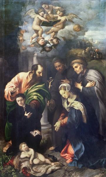 La Natività con i Santi Antonio da Padova, il beato Alberto di Villa d'Ogna e un offerente