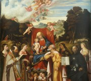 Madonna Enthroned with Angels, St. Apollonia, St. Augustine, St. Catherine, St. Joseph, St. Grata, St. Philip Benizzi and St. Barbara (St. Gotthard Altarpiece)
