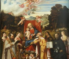 Madonna and Child Enthroned with Angels between Saints Apollonia, Augustine, Catherine, Joseph, Grata, Philip Benizzi and Barbara