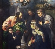 La Natività con con i santi Mattia, Antonio da Padova, il beato Alberto di Villa d'Ogna e un offerente