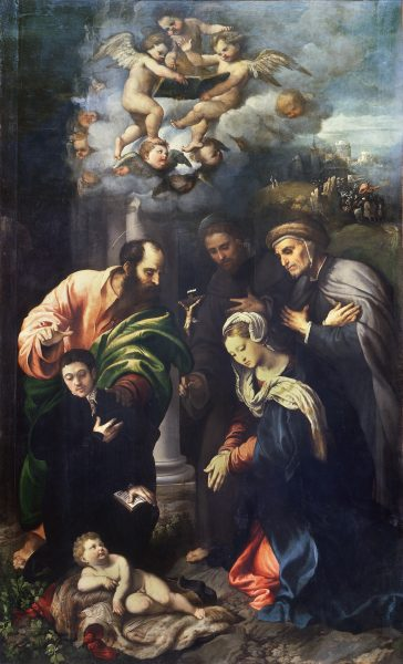 The Nativity with St. Matthias, St. Anthony of Padua, the Blessed Alberto da Bergamo and a Donor