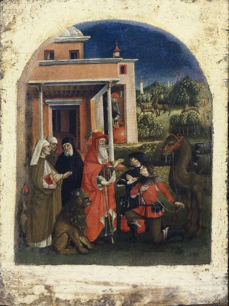 I mercanti che avevano rubato l'asino chiedono perdono al santo