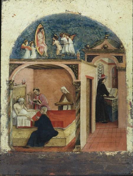 San Girolamo ammalato si vede fustigato davanti a Cristo
