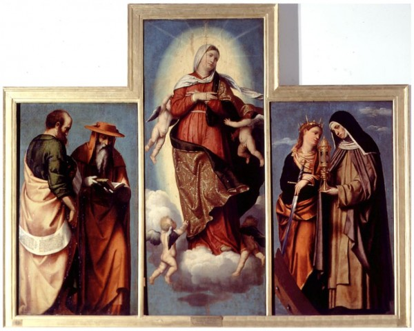 The Assumption of the Virgin with St.Mark and St. Jerome, St. Catherine of Alexandria and St. Clare; St. Francis