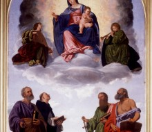 Madonna in Glory with the Christ Child, Two Angels Musicians, St. Peter, St. Dominic, St. Paul and St. Jerome (Pesaro Altarpiece)