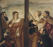 Saint Helen, Barbara, Andrew, Macarius, another Saint and a Devote in Adoration of the Cross