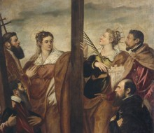 St. Helen, St. Barbara, St. Andrew, St. Macarius, another Saint and a Worshipper Adore the Cross