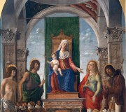 Madonna and Child Enthroned with St. Sebastian, St. John the Baptist, St. Mary Magdalen, St. Roch and Members of the Confraternity of San Giovanni Evangelista