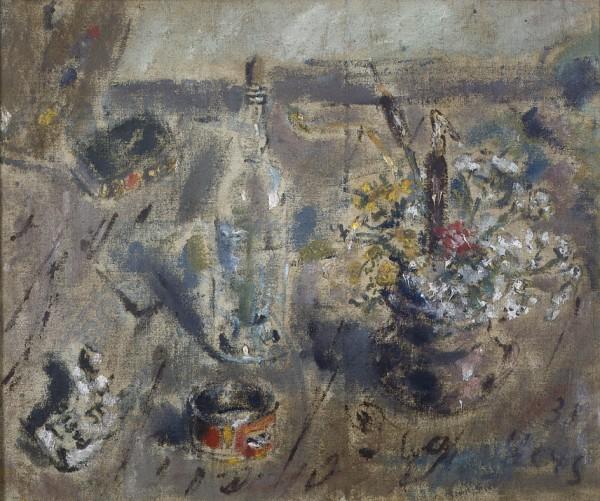 Natura morta con fiori e bottiglia