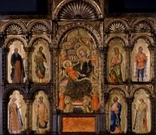 Madonna in trono con il Bambino e i santi Antonio Abate, Giovanni Battista, Andrea, Vittore, Caterina d'Alessandria, Nicola, Marco e Lucia