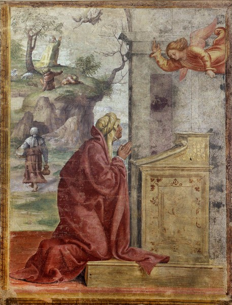 Annunciation to St. Anne; St. Joachim and the Angel in the Background