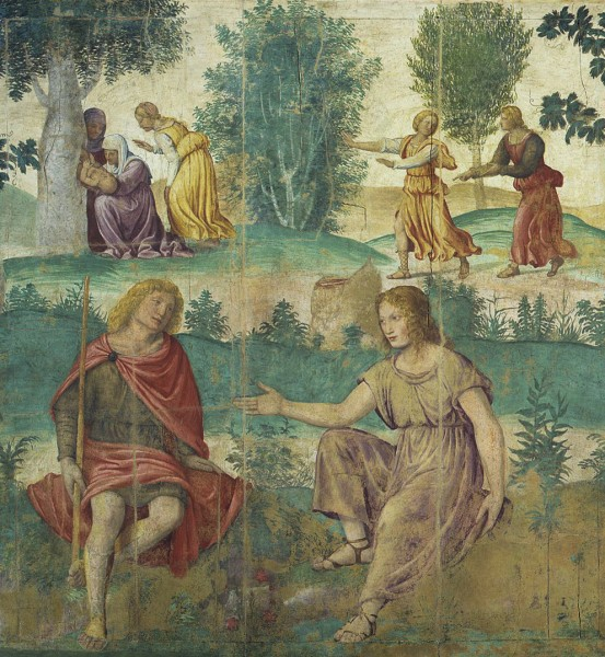 Mythological Scene with The Birth of Adonis in the Background