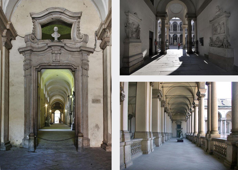 Pinacoteca di Brera: entrance, main door and portico