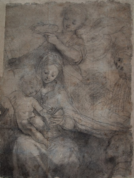 Madonna and Child crowned by an Angel and Two Figures