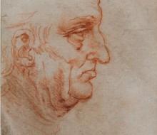 Uomo a mezzo busto di profilo rivolto verso destra (recto)