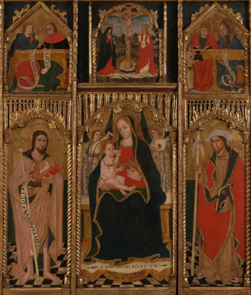 Madonna and Child with Angels, St. John the Baptist and St.James; Crucifixion; Evangelists