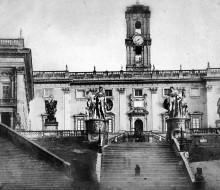 Il Campidoglio visto da piazza Aracoeli a Roma