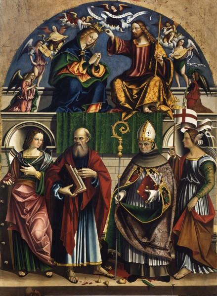 Coronation of the Virgin with St. Catherine of Alexandria, St. John the Evangelist, St. Bonaventure and St. Ursula