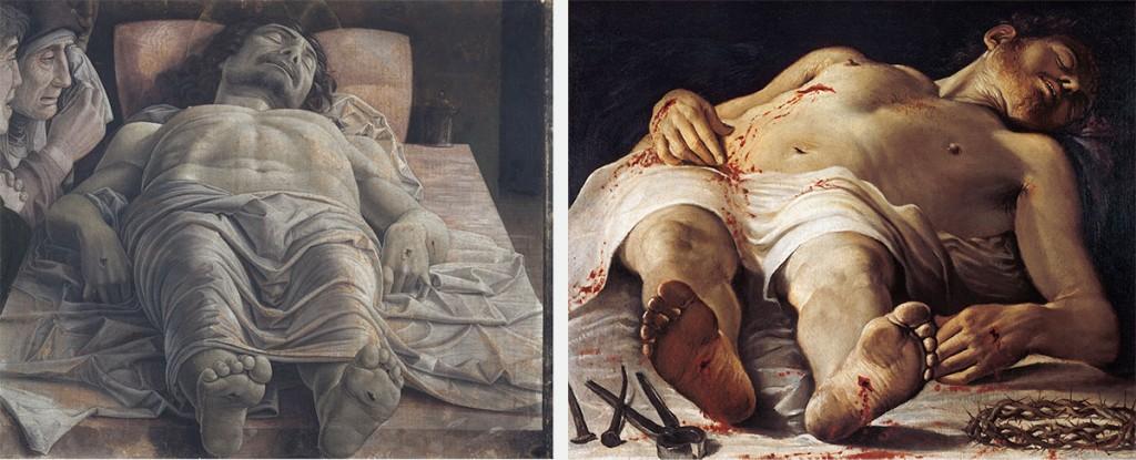 Da sinistra, Andrea Mantegna, Cristo morto nel sepolcro e tre dolenti, 1470-1474. Annibale Carracci, Cristo morto e strumenti della Passione , 1583-1585.