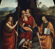 Madonna and child with Saint John the Baptist, St. Paul and an Angel Musician