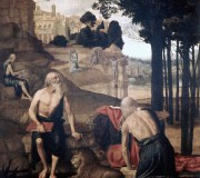 Scenes from the Life of St. Jerome; St. Francis in Ectasy with Brother Leo