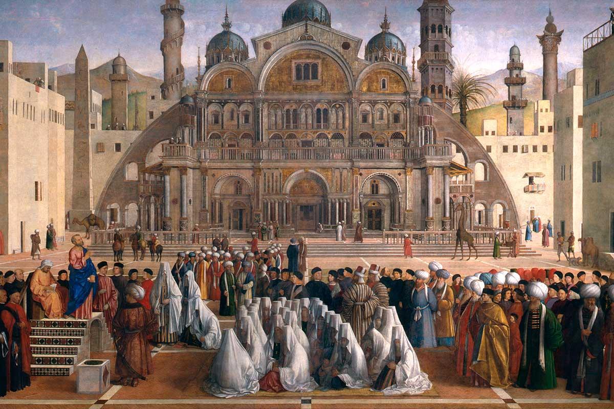 Predica di San Marco in una piazza di Alessandria d'Egitto, Gentile Bellini e Giovanni Bellini, 1504-1507