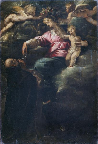 Madonna of the Rosary with the Christ Child, St. Dominic and two Angels