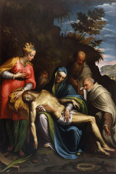 Pietà with St. Catherine of Alexandria, the prophets Elijah, Elisha and Gabriele Pizzamiglio of Quinziano
