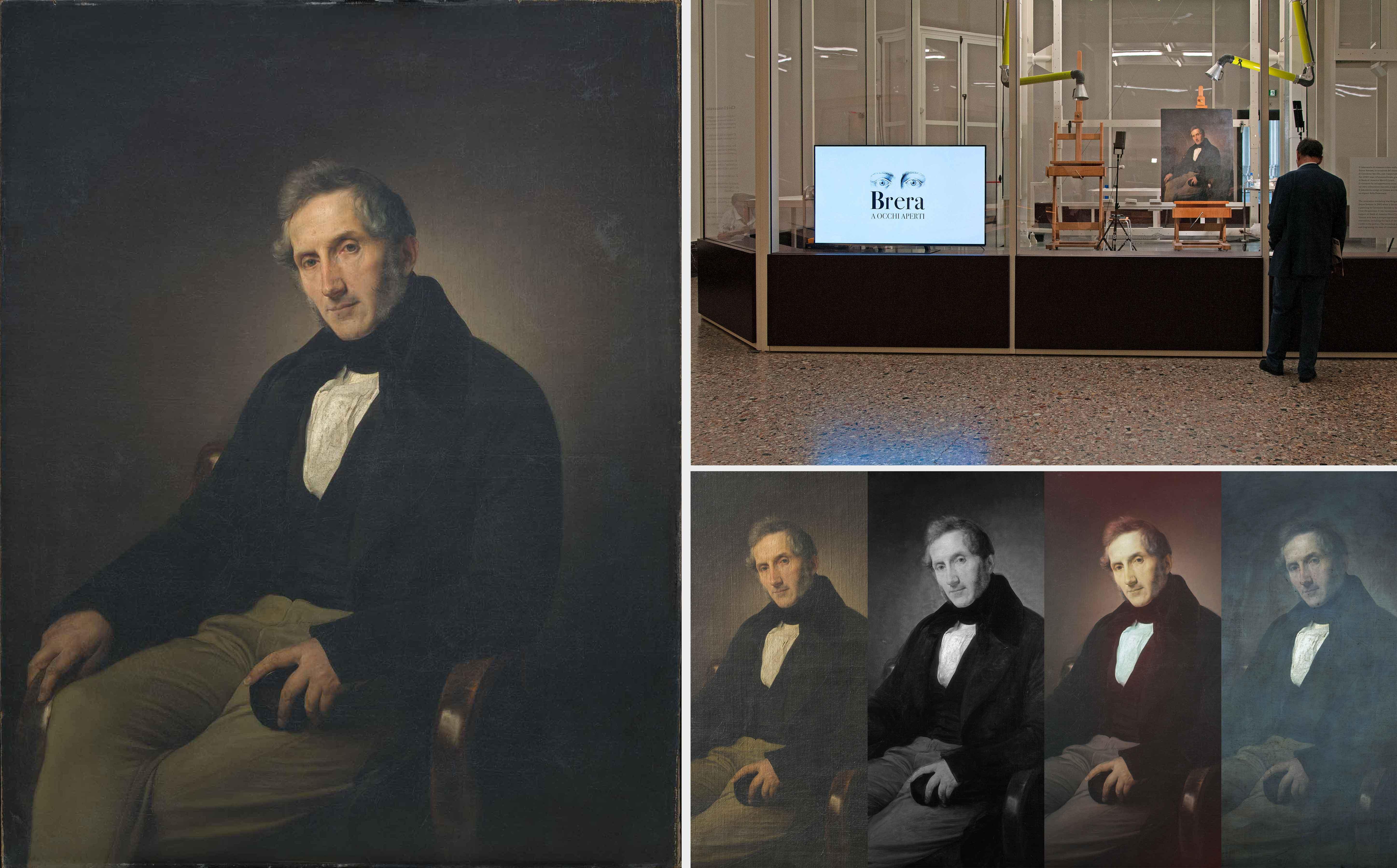 A sinistra, Francesco Hayez, Ritratto di Alessandro Manzoni, prima del restauro (fig. 1). A destra in alto, l'opera collocata nel laboratorio di restauro della Pinacoteca di Brera (fig. 2). In basso, particolare in luce visibile radente, riflettografia IRR, infrarosso falso colore e fluorescenza ultravioletta (fig. 3)