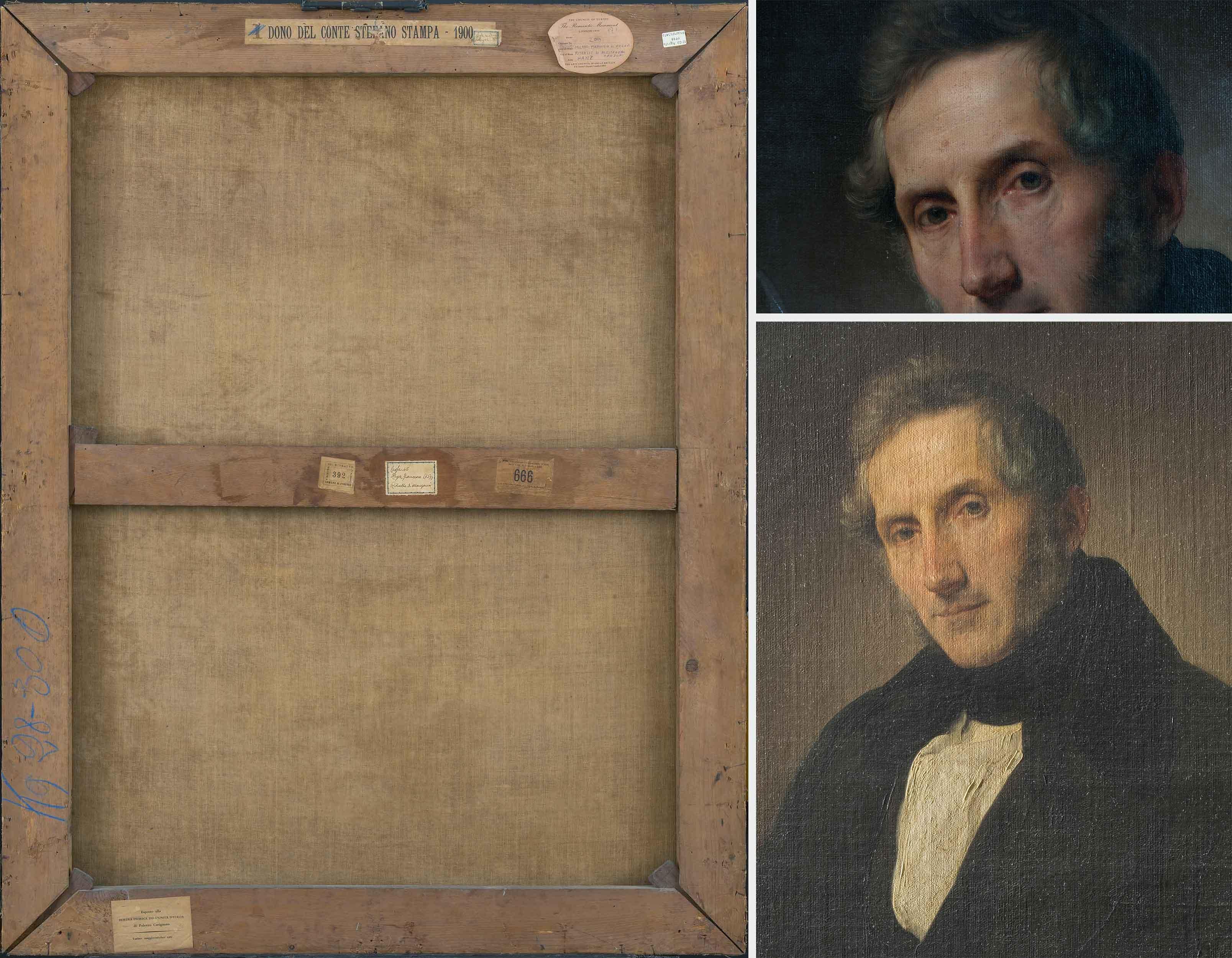 A sinistra, verso del dipinto (fig. 4). A destra in alto, particolare del volto, si evidenzia la stesura pittorica (fig. 5). In basso, particolare in luce radente (fig. 6)